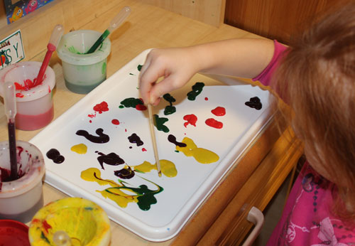 Colour mixing with skinny sticks